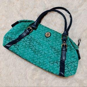 Vintage Tommy Hilfiger Green and Navy Handbag